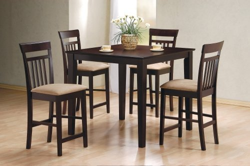Lovely 2) Coaster Five Piece Cappuccino Dining Table And 4 Barstools Set