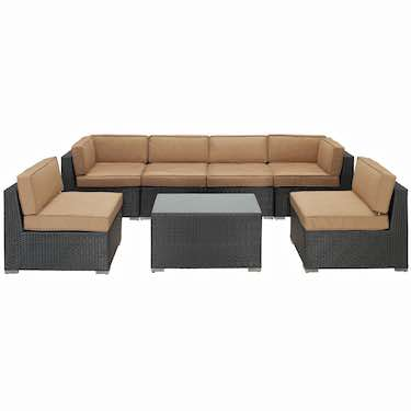 LexMod Aero Outdoor Wicker Patio 7-Piece Sofa Set