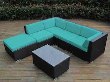 1) Ohana Collection 6 Piece Outdoor Patio Wicker Sofa Set Sunbrella Aruba