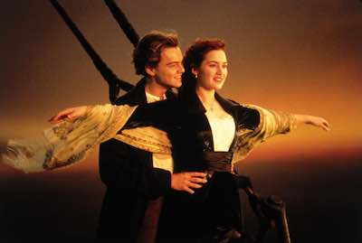 Titanic - arms open at front of boat