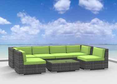 Urban Furnishing 7pc Modern Outdoor Wicker Rattan Patio Sofa Sectional Couch Set
