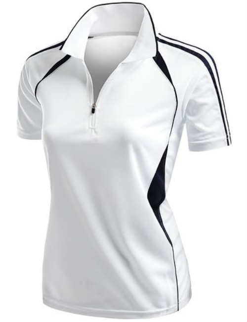 Women's Coolmax 2 Tone Collar Zipup Polo