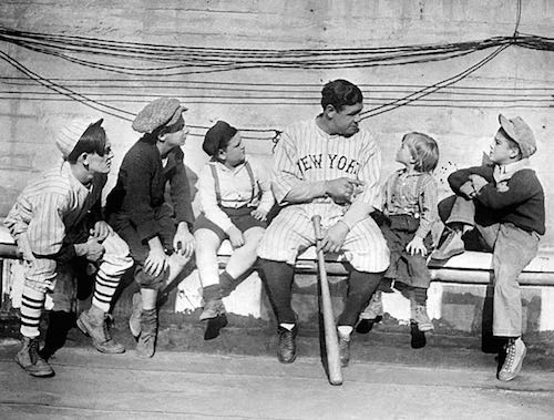 Babe Ruth with Kids