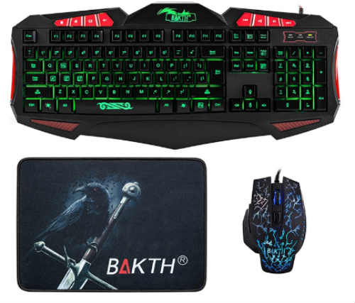 BAKTH Adjustable 7 Color Rainbow LED Backlight USB Gaming Keyboard and Mouse Combo