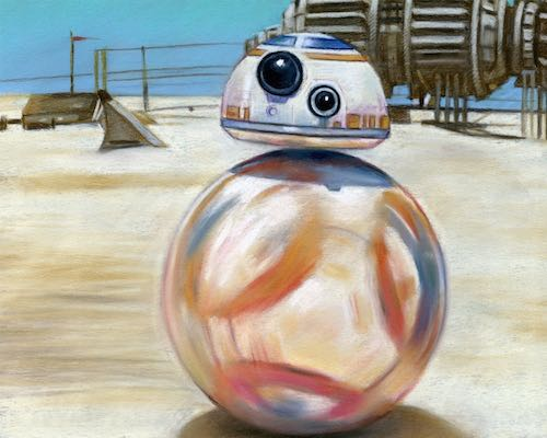 BB-8 - Handmade Pastel Painting Poster