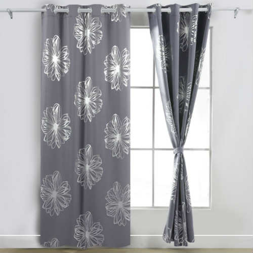 Deconovo Light Grey Flower Blackout Curtains