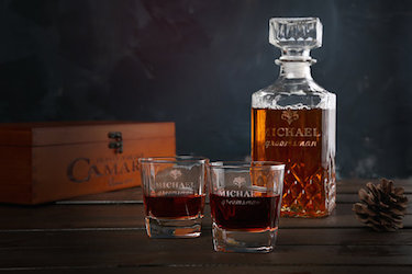 Personalized Glass Scotch Whiskey Decanter Set
