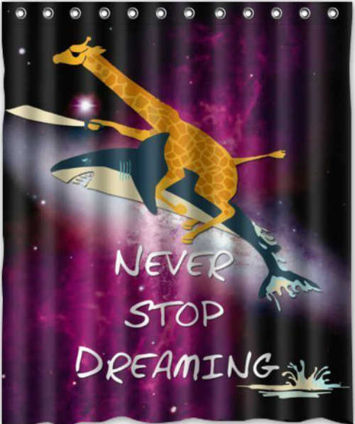 Giraffe Riding Shark Shower Curtain - Never Stop Dreaming