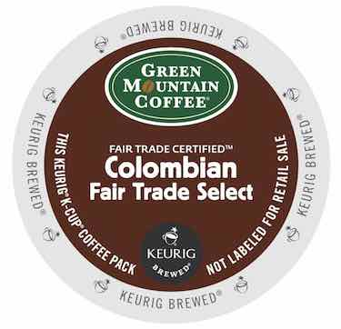 Green Mountain Coffee Colombian Fair Trade Select, 72 Count