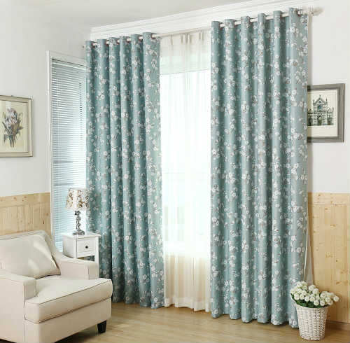 H.Versailtex Aqua Floral Blackout Curtains