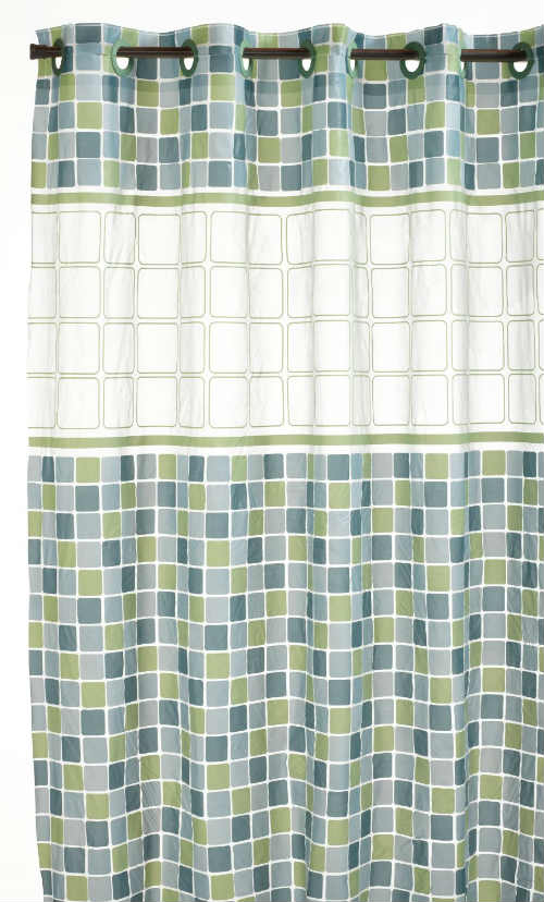 Hookless PEVA Shower Curtain - Mosaic Jade