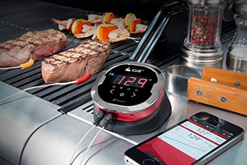 iDevices iGrill2 Bluetooth Thermometer on a grill