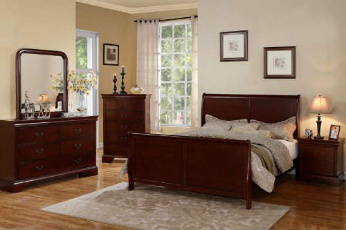 Louis Phillipe Cherry Queen Size Bedroom Set