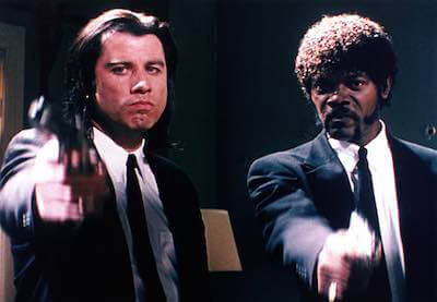 pulp fiction - jackson and travolta pointing guns