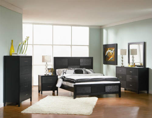 3) 4pc Queen Size Bedroom Set With Wood Grain In Black Finish