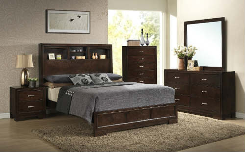 Roundhill Furniture Montana Modern 5-Piece Wood Bedroom Set