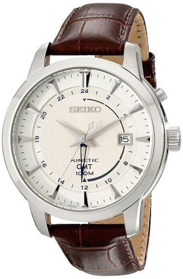 Seiko Men's SUN041 Stainless Steel Watch with Brown Band