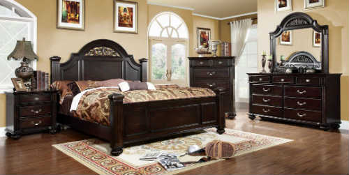 1) 5 Pc. Syracuse Dark Walnut Finish Classic Style Queen Bed Set